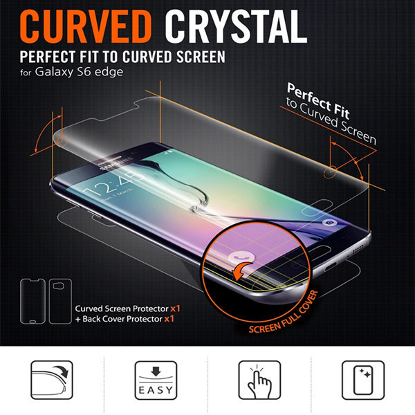 Front and back protective film case For Samsung galaxy s6 edge original bending screen protector For g9250