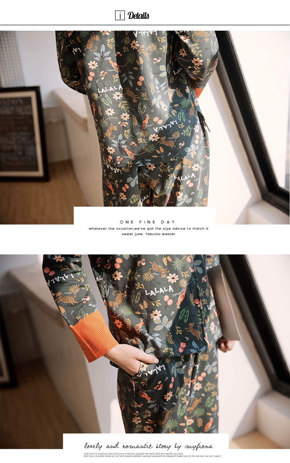 Spring-Cotton-Floral-Printing-Long-Sleeve-Lapel-Shirt-Pajama-Set-1539295