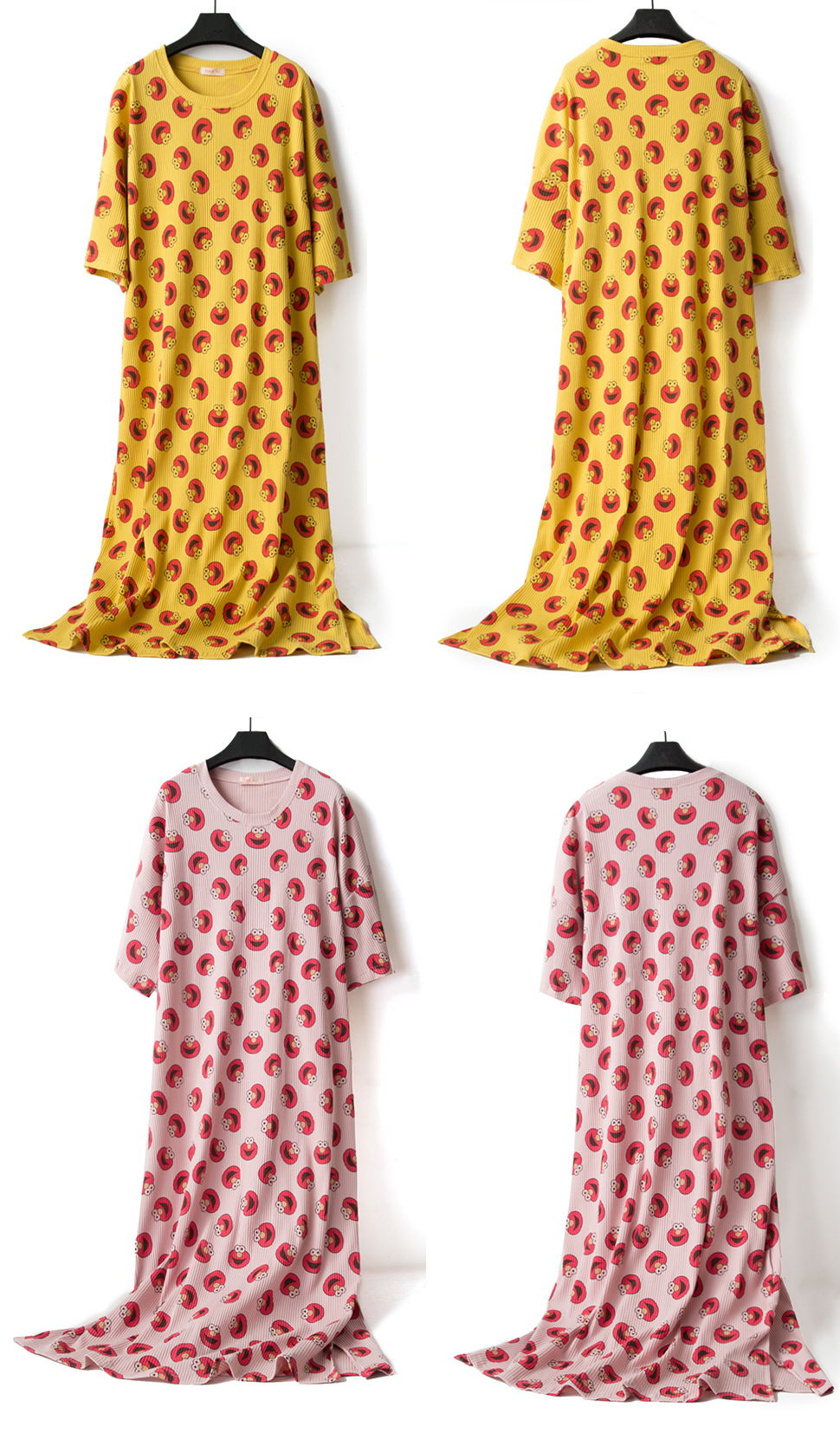 Summer-Cotton-Comfy-Print-Casual-Sweat-Overhead-Nightgown-1529843