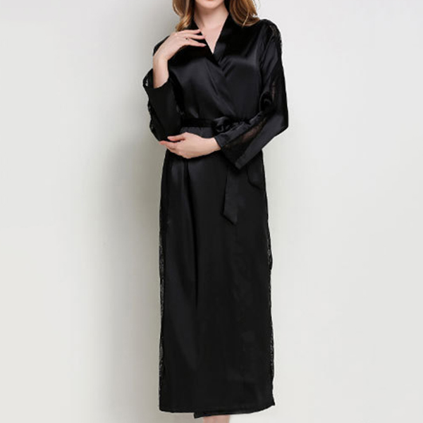 Women-Lace-Smooth-Silk-like-Leisure-Breathable-Bath-Robe-1201490