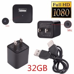 32GB 1080P USB SPY Camera Hidden Wall Phone Charger AC Adapter Plug DVR