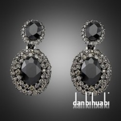 Black Geometry Crystal Vintage Earrings