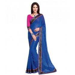 Blue Georgette Embroidered Saree With Blouse Piece And Fall