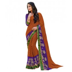 Brown With Violet Border Chiffion Printed Saree With Blouse Piece And Fall
