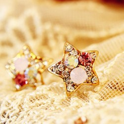 Five-pointed star Star Shaped Colorful Crystal Stud Earrings