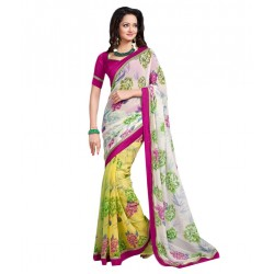 Flora Print White And Yellow Georgette Embroidered Saree With Blouse Piece And Fall