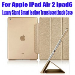 Luxury Fashion Stand leather Case Smart Cover Translucent Clear back Case For iPad Air 2 ipad6 NO: I606